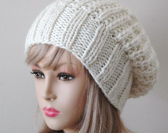 4e0825a71b1 Cream Winter White Knit Slouchy Hat
