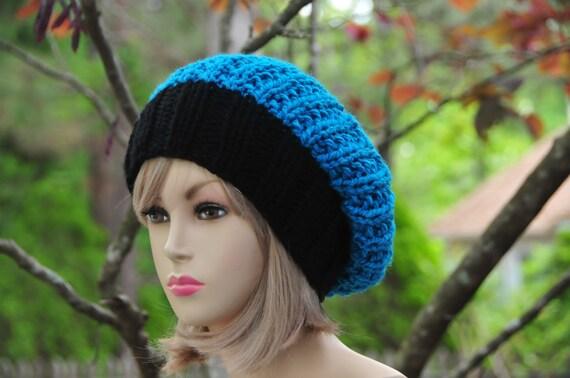 f5b230e8948 Black Blue Chunky Knit Slouchy Beanie Carolina Panthers Hat