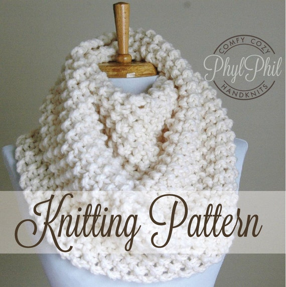 Knitting Pattern Infinity Scarf Easy Beginner Pattern Pdf Etsy