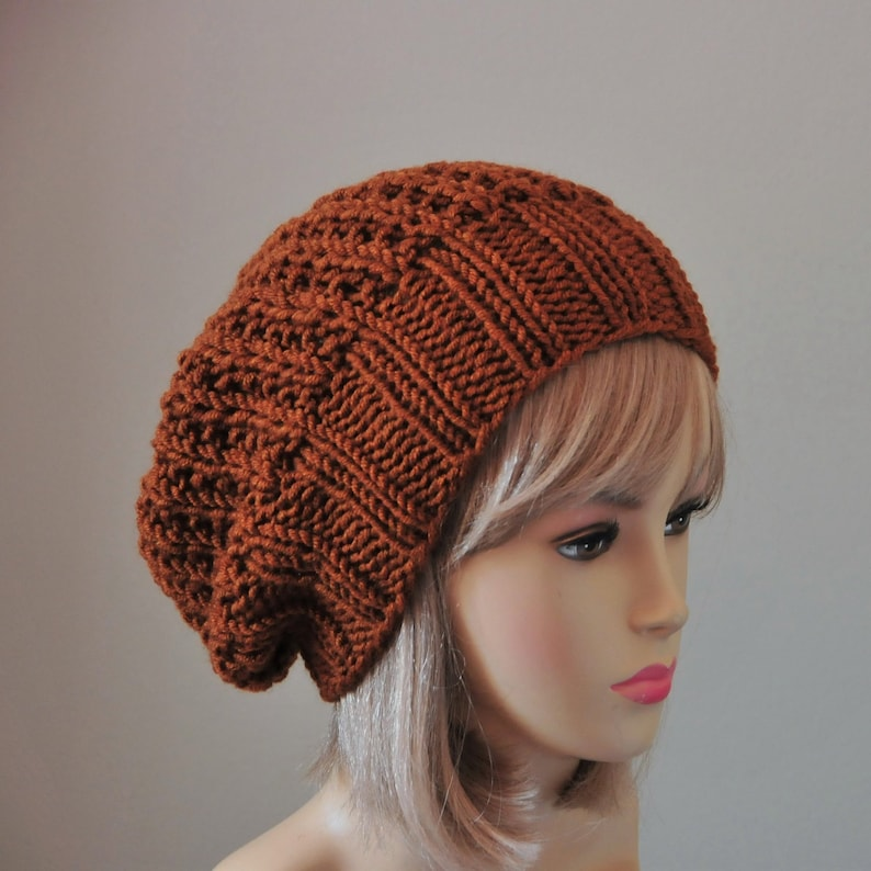 5b3a9899974 Mahogany Brown Slouchy Beanie Chunky Wool Hand Knit Hat
