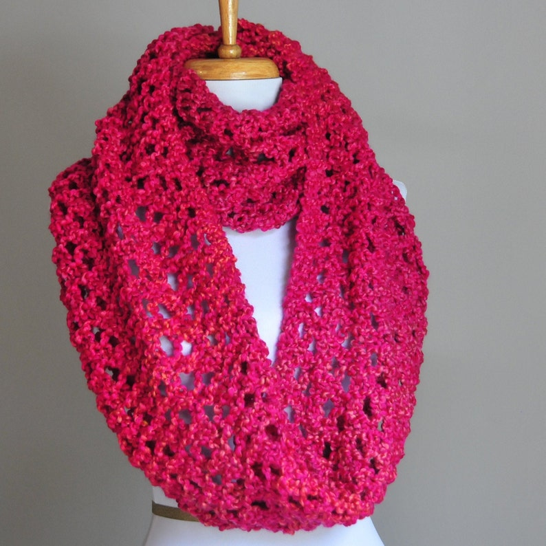 c43dac104d7 Pink Chunky Knit Infinity Scarf, Circle Scarf, Lace Knit Vegan Scarf,  Knitted Scarf, Women Scarf, Winter Scarf, Valentines Day Gift