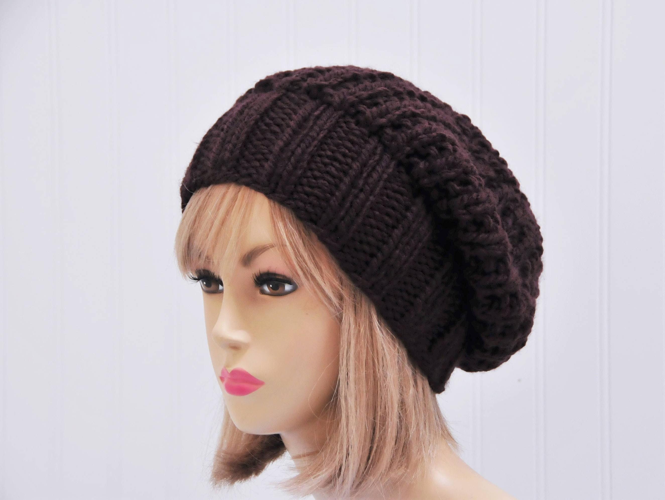 75c68333bb5 Slouchy Hat Espresso Dark Brown Knit Slouchy Beanie Hat