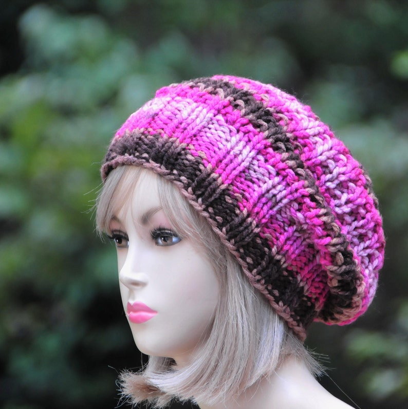 abfae3e7468 Pink Brown Slouchy Hat Knit Slouchy Hat Slouchy Beanie Hat