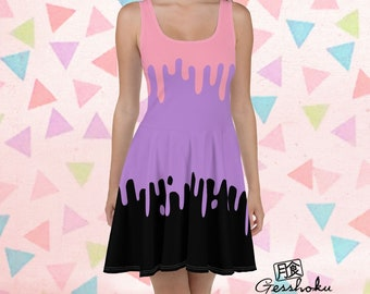 2a451c57adb Pastel Goth Dress - Drippy slime casual skater dress - purple pink rave  party dress - alternative goth summer short flare dress