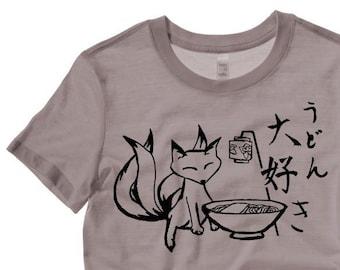 7bab9be4b Kitsune Fox Shirt Japanese shrine fox with udon traditional Japan gift furry  fandom gothic fox