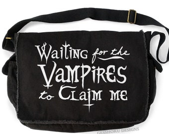 Vampire Messenger Bag - aesthetic grunge gothic laptop bag pastel goth creepy cute waiting for the vampires crossbody bag gothic lolita
