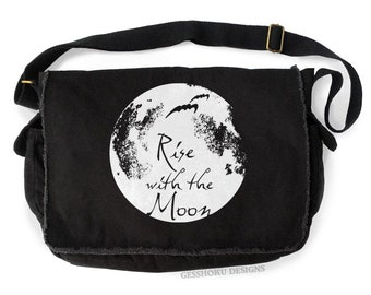 8245fdd8cc Moon Bag gothic messenger bag Rise with the Moon steampunk laptop bag  witchy pagan pastel goth