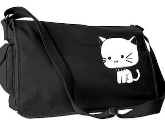 Goth Kitty Messenger Bag kawaii cute cat bag pastel goth school bag scene  kitten gothic lolita laptop bag 29061a04df