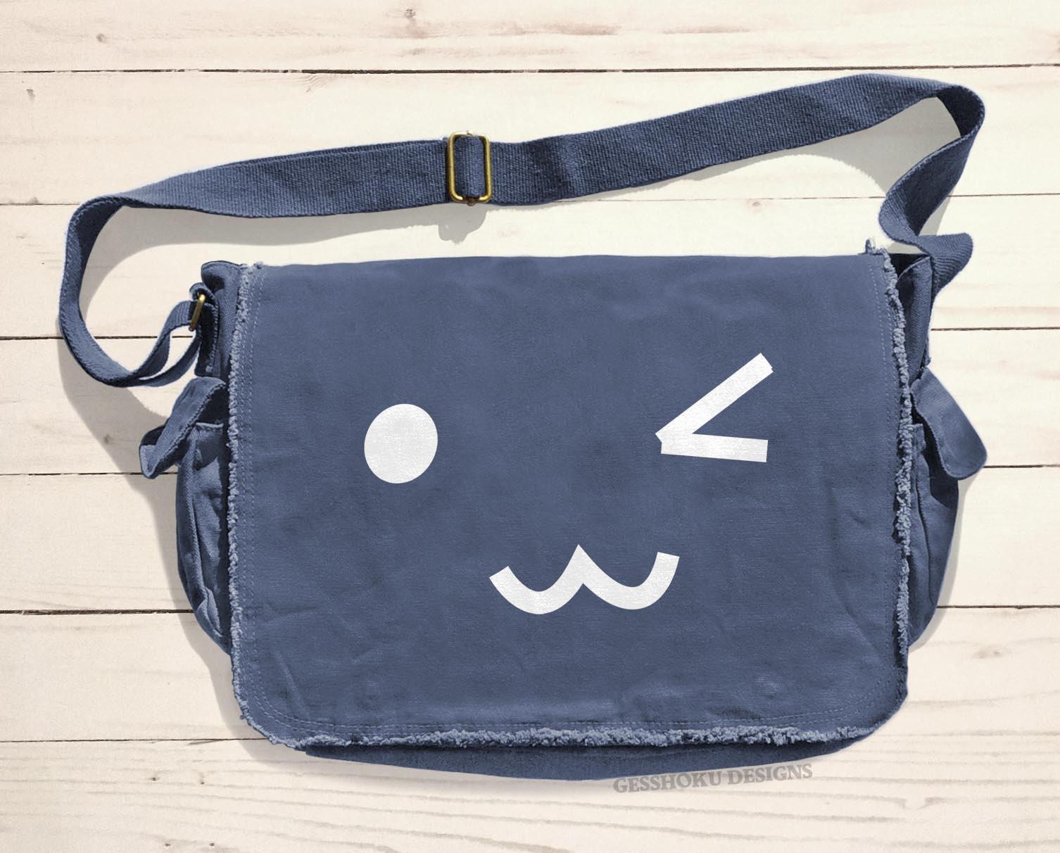 Bookbag Emoji Pattern Cross Body Shoulder Messenger Laptop Bag