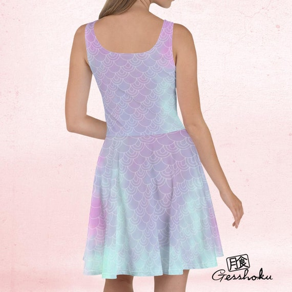 Fairy Kei Seapunk Party Prom Dress Pink Blue Skater Flare Dress Pastel Mermaid Dress w Kawaii Seahorse
