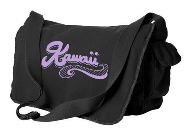 Kawaii Messenger bag 90s font logo trendy school bag kawaii bookbag