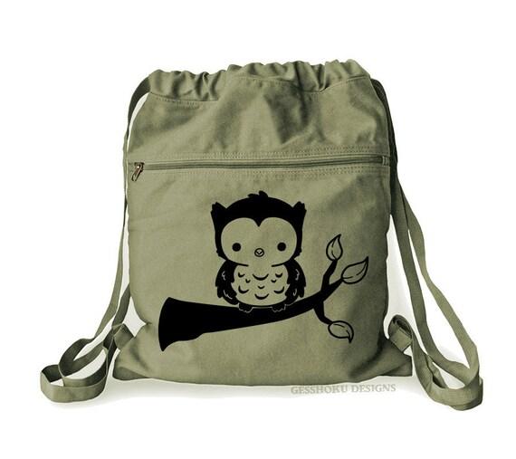 Owl-Grunge Print Design Backpack