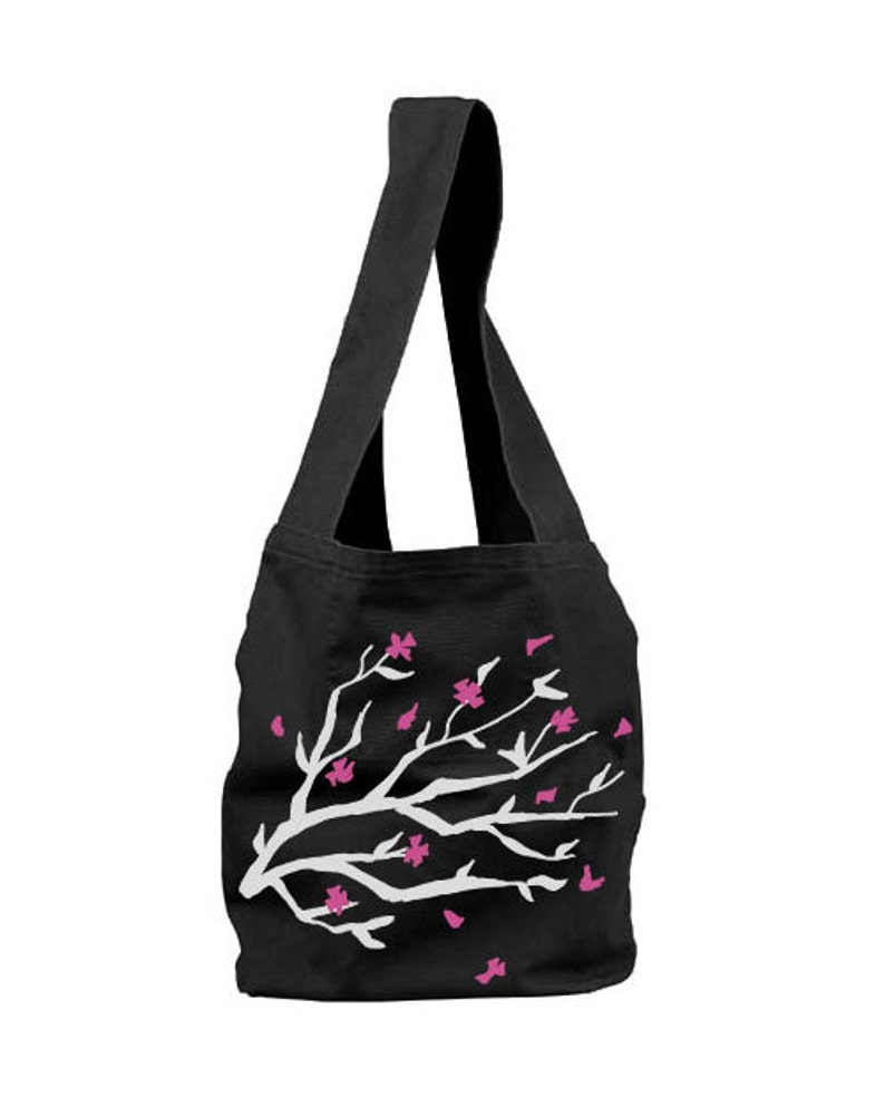cbd6fe40d540 Floral Bag Cherry blossom purse Sakura print bag Asian flower print  shoulder tote - Flower petals - pretty mothers day gift - Kawaii