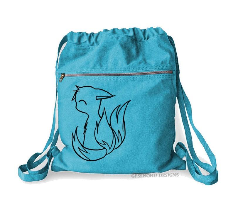 cute woodland animal tote Japanese fox bag drawstring cinch bag kawaii backpack anime fox kitsune backpack shrine fox with tails