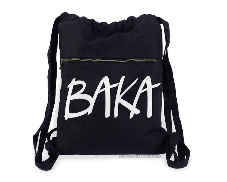 429e30a0bfd4 BAKA Backpack Japanese anime phrase drawstring backpack school