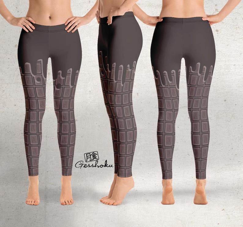 Decora Kawaii Leggings Melting Chocolate Candy Bar Leggings Sweet Lolita Tights Pants Chocolate Leggings or Tights