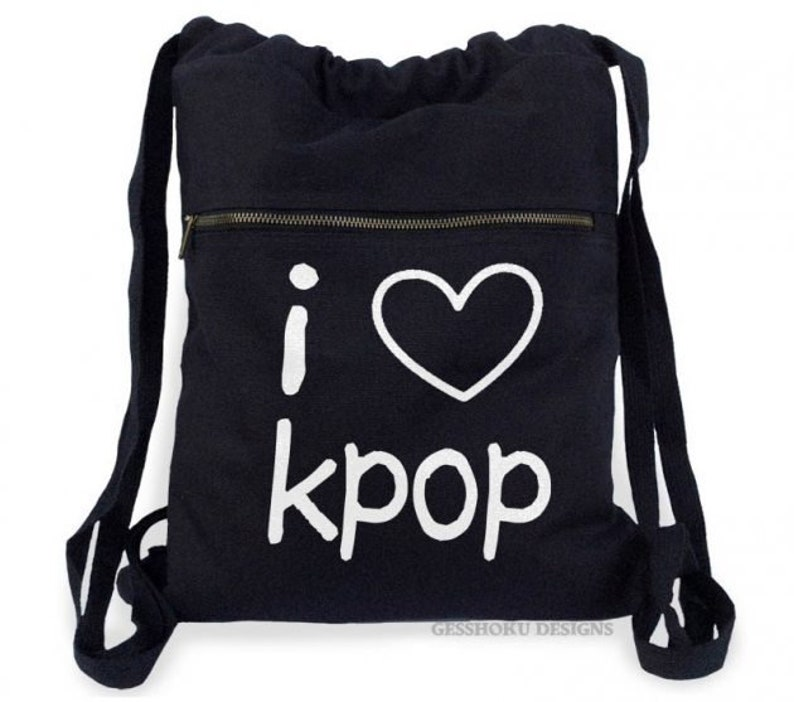 1c0568906673 Kpop backpack I Love K-pop bag cute drawstring tote ulzzang
