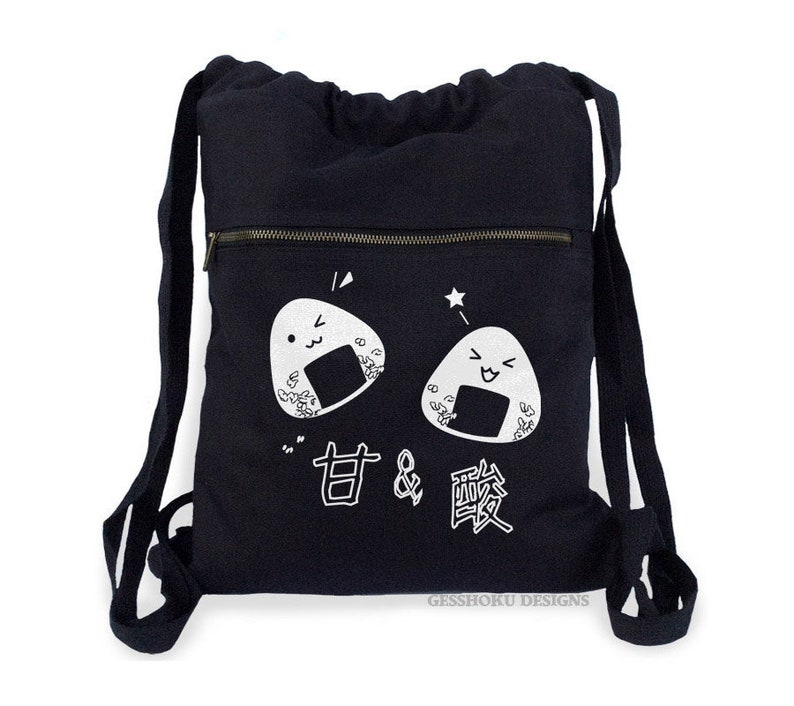 3c036eb2310c Onigiri Backpack kawaii rice balls bag cute Japanese school bag canvas  cinch backpack kawaii bento lunch tote