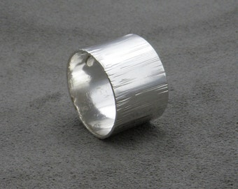 Wide Silver Ring - Bumpy Road