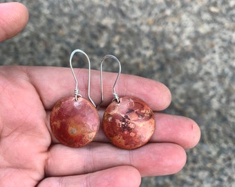 6 - Fired Copper Disc Earrings - Silversmith - Metalsmith Jewelry