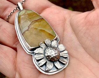 Brittlebush & Landscape Jasper Pendant - Silversmith - Metalsmith Jewelry