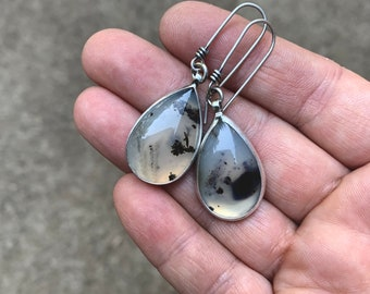 RESERVED- Montana Agate Dangles - Silversmith - Metalsmith Jewelry