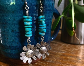 Brittlebush Flowers/Turquoise Earrings - Silversmith - Metalsmith Jewelry
