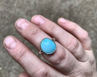 8.25 - Simple Turquoise Ring - Silversmith - Metalsmith Jewelry
