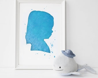Custom Watercolor Silhouette: (left & right of one child) from picture 8x10 inch