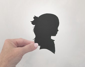 Personalized Child Silhouette baby nursery wall art home decor black and white minimalist Hand Cut Paper Mailed to you Traditional Profile
