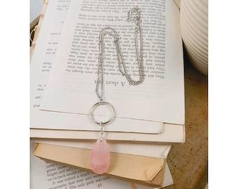Rose quartz tear drop necklace.