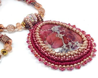 Shades of Pink and Gold/ Bead Crochet Rope Necklace/ Gemstone Cabachon/ Bead Embroidery/ Rhodonite