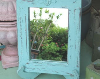 Light Blue Shabby Chic Wooden Mirror On A Stand , Vintage mirror