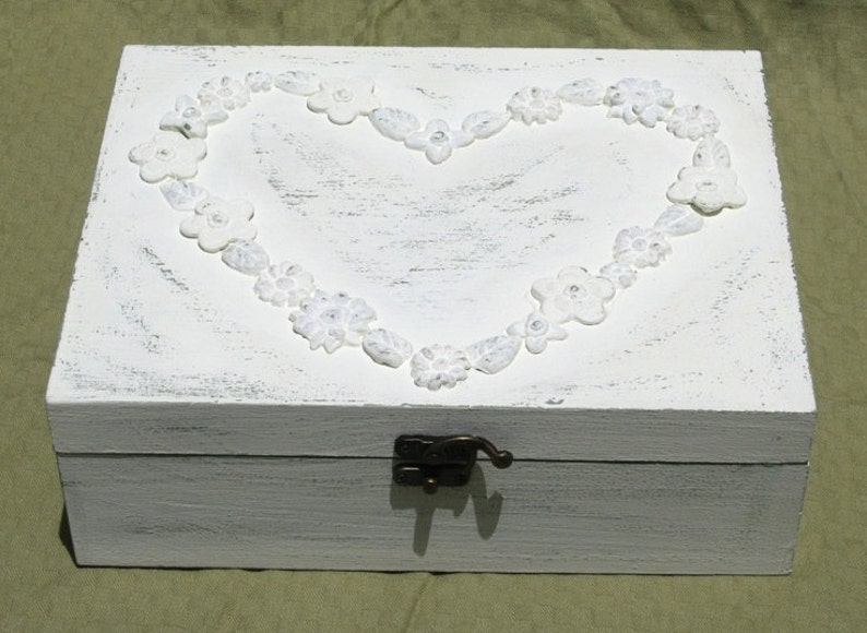 jewelry box vintage jewelry organizer Creamy Shabby Chic Home Decor JEWELRY BOX