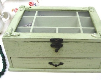 """Wooden Jewelry Box Light Green """"Shabby Chic"""" home decor,*** Buy 1 From The Shop And Get 1 Small Gift ***, jewelry box for women"""