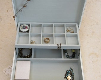 """Wooden Jewelry Box Creamy-Dreamy  """"Shabby Chic"""" , *** Buy 1 From The Shop And Get 1 Small Gift ***, Jewelry Box Vintage, Gift For Her"""