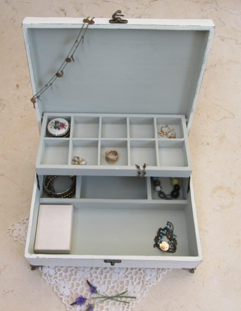 Wooden Jewelry Box Creamy-Dreamy  Shabby Chic  image 0