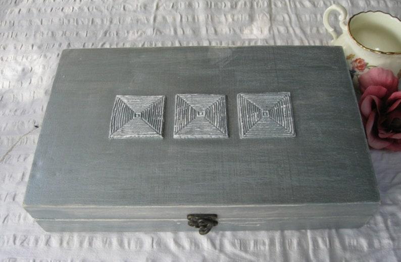 wooden tea box Tea box Silver Shabby Chic Home Decor  Tea bag box