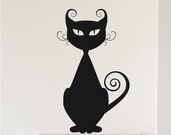 Nursery Cat Wall Decal Curly Q - Vinyl Wall Decals Stickers Art Graphics Custom Home Decor