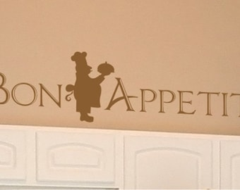 Bon Appetit Wall Decal with Italian Chef - Vinyl Wall Stickers Words Custom Home Decor