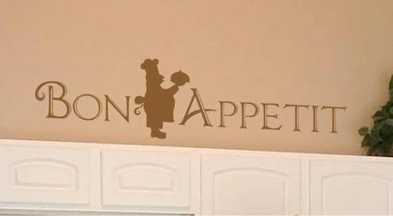 Bon Appetit Wall Decal With Italian Chef Vinyl Wall Stickers Etsy