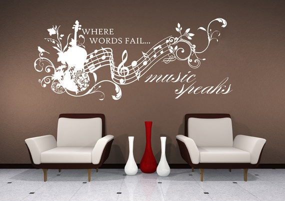 music wall decals music speaks collage vinyl lettering text | etsy