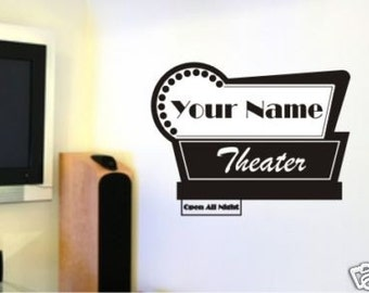 Movie Theater Sign Custom Wall Decals Personalized  (Horizontal)- Vinyl Stickers Art Custom Home Decor