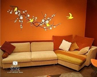 Tree Wall Decals Cherry Blossom Branch - Sticker Art Custom Home Decor