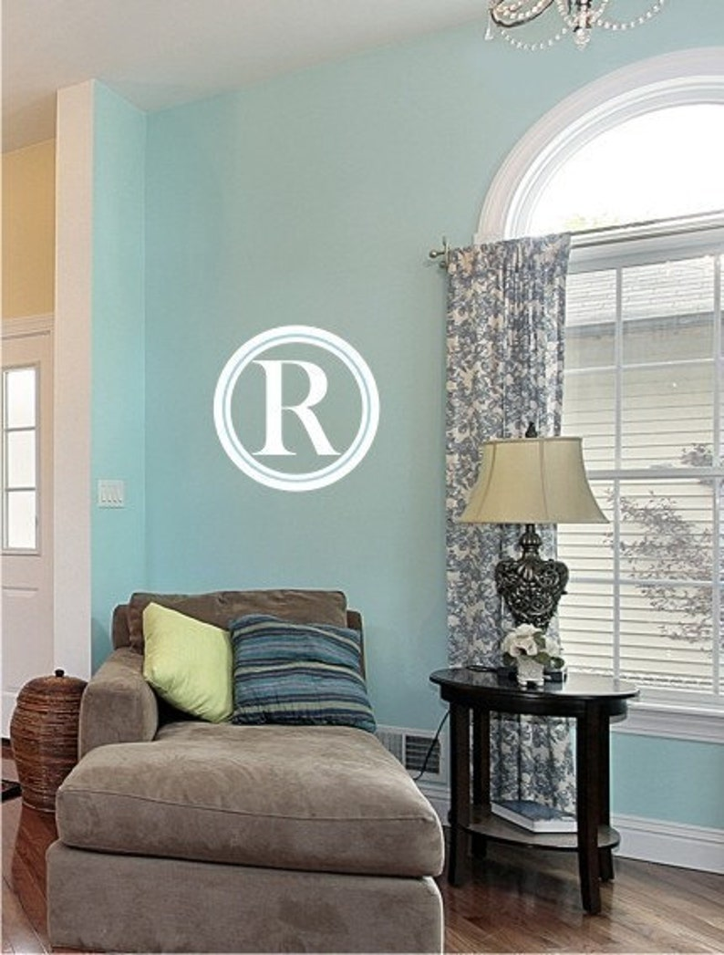 Vinyl Text Wall Words Lettering Sticker Art Custom Home Decor Monogram Wall Decals Simple Circle
