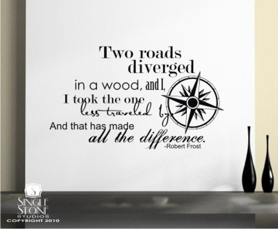 Items similar to Road Less Traveled Wall Decals Quote ...