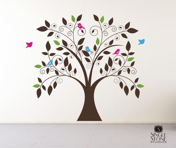 nursery tree wall decal whimsical nursery vinyl wall | etsy