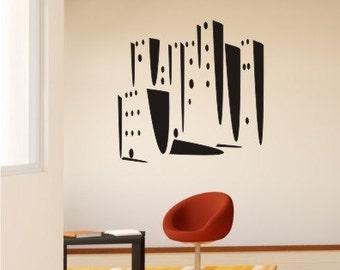 Skyline Wall Decal Modern City - Vinyl Wall Art Sticker Graphic Custom Home Decor