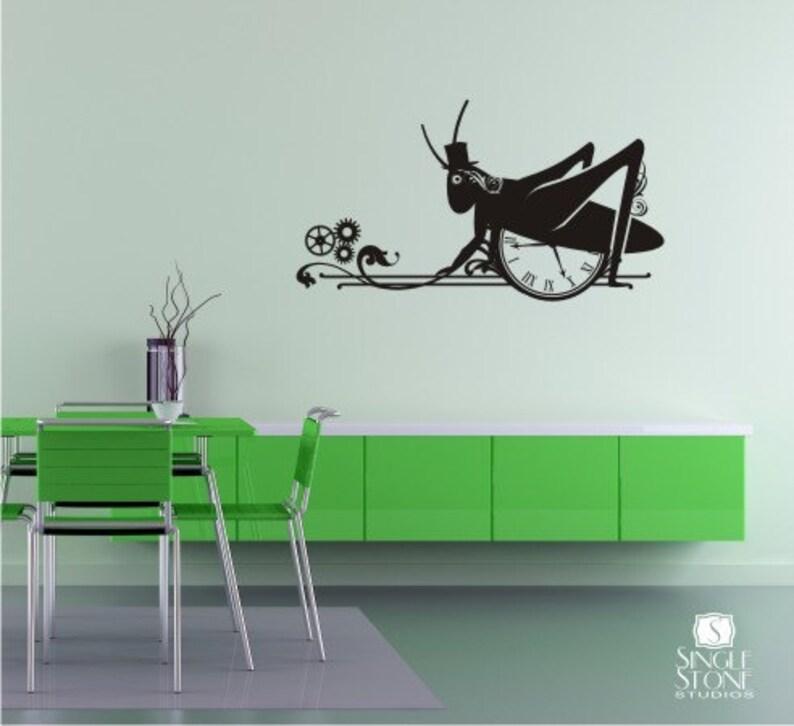 Vinyl Art Stickers Custom Home Decor Steampunk Grasshopper Wall Decal