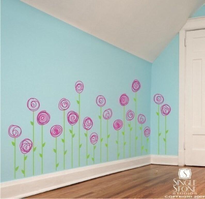 nursery flower wall decals doodle flower garden vinyl   etsy